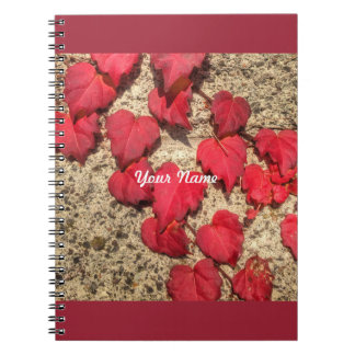Square Photo Template Red Heart-Shaped Leaves Spiral Notebook