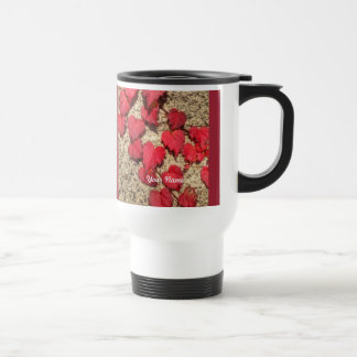 Square Photo Template Red Heart-Shaped Leaves Stainless Steel Travel Mug