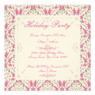 Square Pink and Green Damask Holiday Party Invite