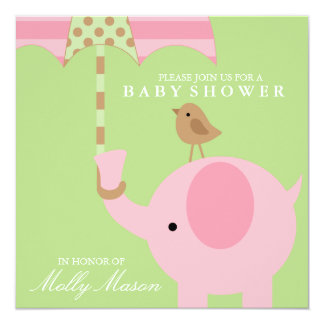 Square Pink Elephant Baby Shower Invitation