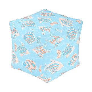 Square Pouf, Coral & Turquoise Beach Pattern Cube Pouf