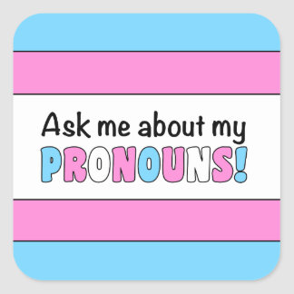 Square Pronouns Sticker (Trans Pride)