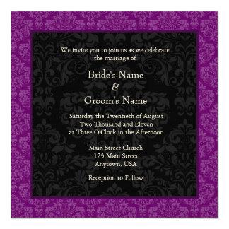 Square Purple Damask Monogram Wedding Invitations