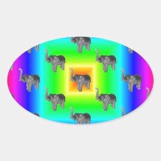 Square Rainbow Burst Elephant Pattern Sticker
