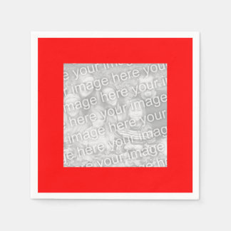 Square Red Border Photo Disposable Serviette