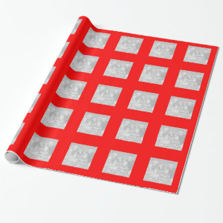 Square Red Border Photo Wrapping Paper