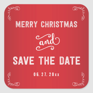 Square Red White Save The Date Christmas Stickers