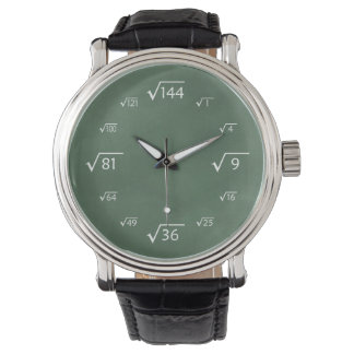 Square Root Math (Green Chalkboard) Wrist Watches