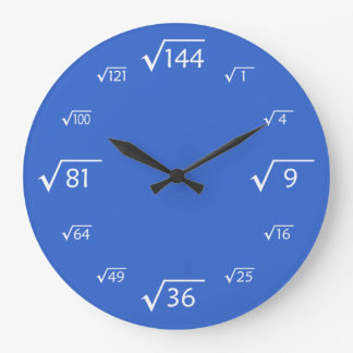 Square Root Wall Clock (Blue/White)
