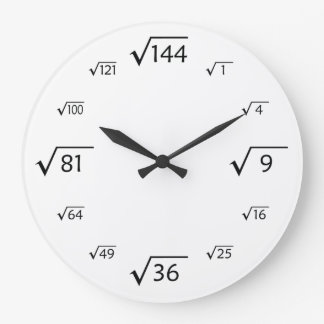 Square Root Wall Clock (White/Black)