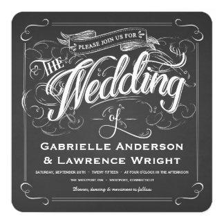 Square Rustic Chalkboard Art Wedding Invitations
