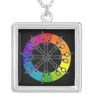 Square Scissors and Color Wheel Hairstylist Pendan Silver Plated Necklace