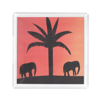 Square Serving Tray with Elephant Design