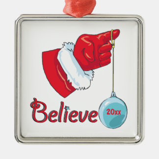 Square Shaped Believe Christmas Ornament