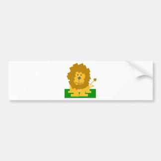 Square Shaped Cartoon Lion on Green Platform Bumper Sticker