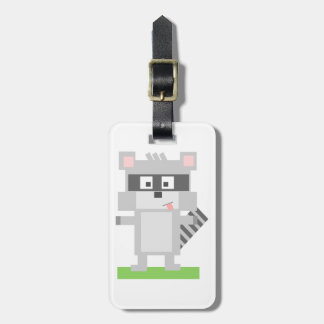 Square Shaped Cartoon Raccoon Sticking Out Tongue Bag Tag
