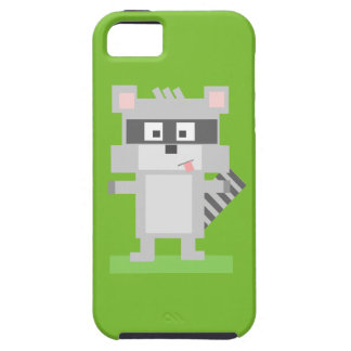 Square Shaped Cartoon Raccoon Sticking Out Tongue iPhone 5 Covers