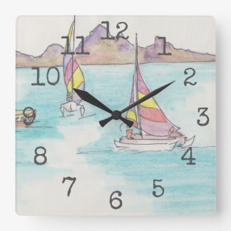 "Square Shaped Clock ""Watercolor Boats Fiji"""