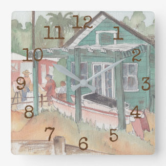 """Square Shaped Clock """"Watercolor Crystal Cove"""""""