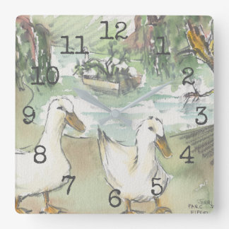 "Square Shaped Clock ""Watercolor Ducks at Parc"""