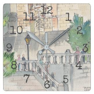 "Square Shaped Clock ""Watercolor Museum"""