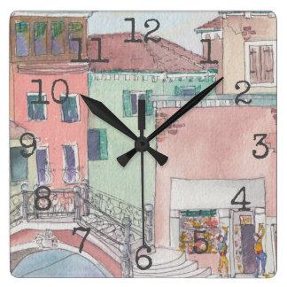 "Square Shaped Clock ""Watercolor Shopping"""