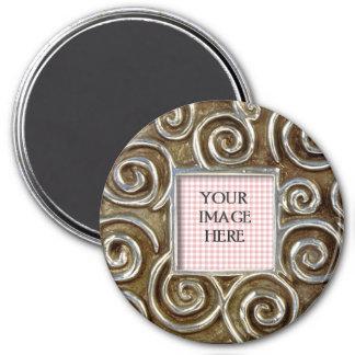 Square Silver Swirls Template 7.5 Cm Round Magnet