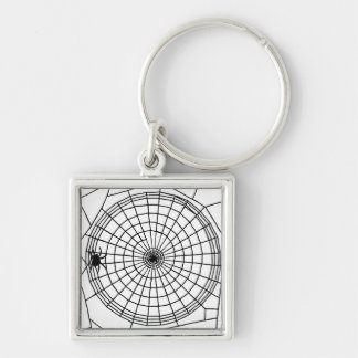 Square Spider Web, Scary Halloween Design Key Ring