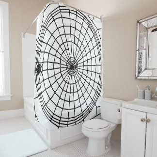 Square Spider Web, Scary Halloween Design Shower Curtain