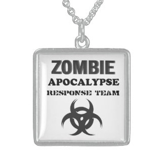 Square Sterling Silver Necklace Zombie Apocalypse