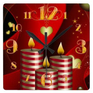 Square Three Christmas Candles Clock