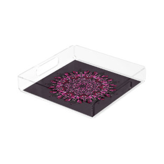 Square Tray Pink Mandala Design
