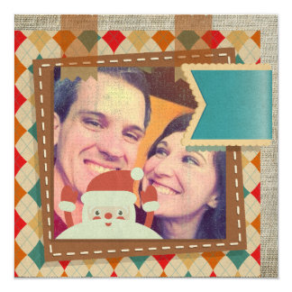 Square Vintage Christmas Greeting with rustic feel 13 Cm X 13 Cm Square Invitation Card