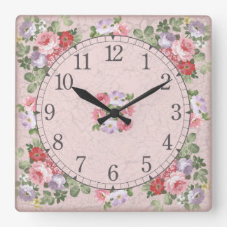 Square wall clock - floral design