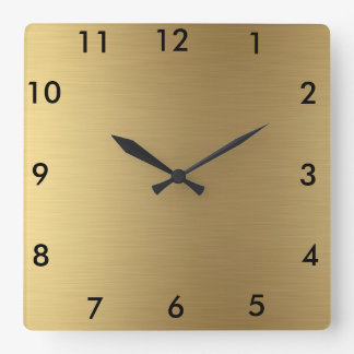Square Wall Clock Gold Color