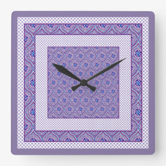 Square Wall Clock,  Mauve, White Ogees and Polkas Square Wall Clock