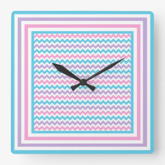Square Wall Clock, Pink, Mauve, Turquoise Chevrons Square Wall Clock