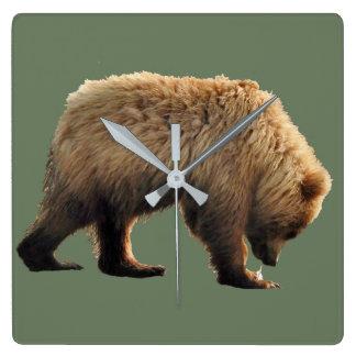 square wall clock with bear cub