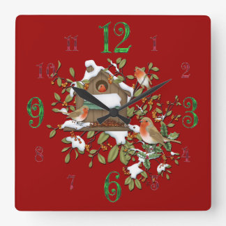 Square Winter Robin Bird House Wall Clock