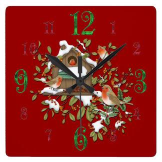 Square Winter Robin Bird House Wall Clock