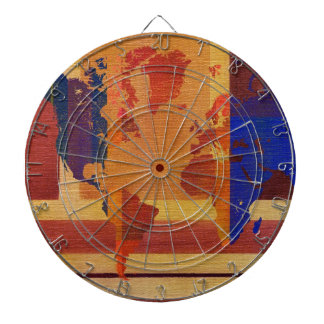 Square With Lines World Map Dartboard