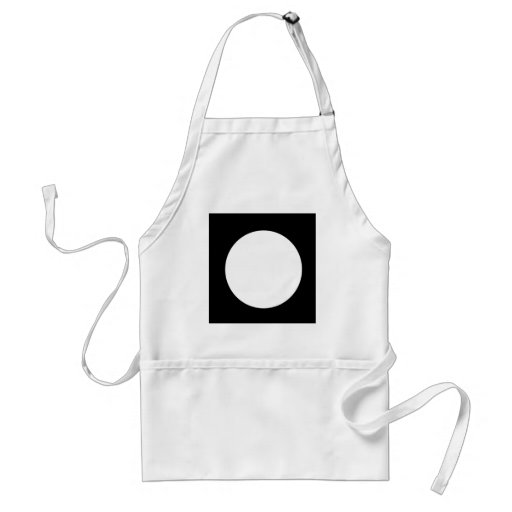 square with white circle apron