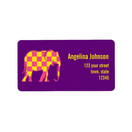 Square Yellow Pink Pattern Elephant Female Purple Label