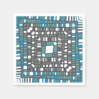 Squared layers in green and blue disposable napkins