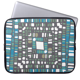 Squared layers in green and blue laptop sleeve