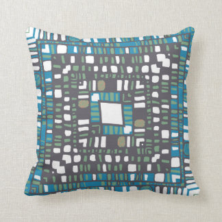 Squared layers in orange and blue cushion