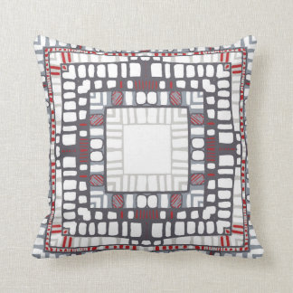 Squared layers in red and grey throw pillow