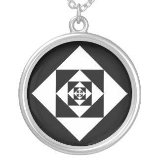 Squared Round Pendant Necklace
