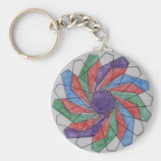 Squared Pinwheel Spirograph Design Key Chain
