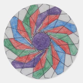 Squared Pinwheel Spirograph Design Round Sticker